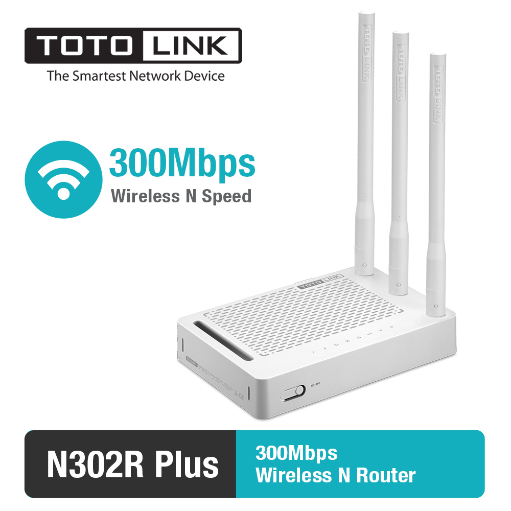 TOTOLINK N302Plus 300Mbps WiFi Router with Wireless Repeater and AP in One, 3 Antennas, English and Russia Firmware
