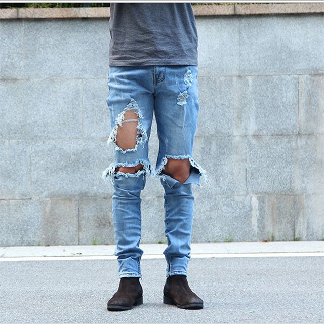 Aliexpress.com : Buy Men kanye west ripped jeans skinny destroyed ...