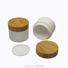 30g 50g White Plastic Bottle with Bamboo Lid, White Packing Jar with Wooden Cap, PP Cream Container, 20 PCS/Lot.