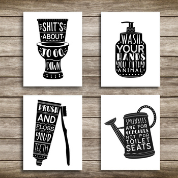 Black And White Bathroom Canvas Wall Art Paintings Laundry Room Diy Photo Framed Prints Posters Pictures Frame Home Decoration Leather Bag