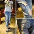 Primavera Otoño Nueva Moda Jeans de Algodón Mujeres Sueltan Washed Vintage grande Del Agujero Rasgado Lápiz Largo Denim Nueve Pantalones Más El Tamaño 9xl