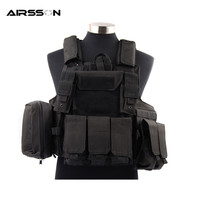Outdoor Airsoft Paintball Molle Body Armor Tactical Vest With Detachable Pockets For Magazine Flashlight Torch Two