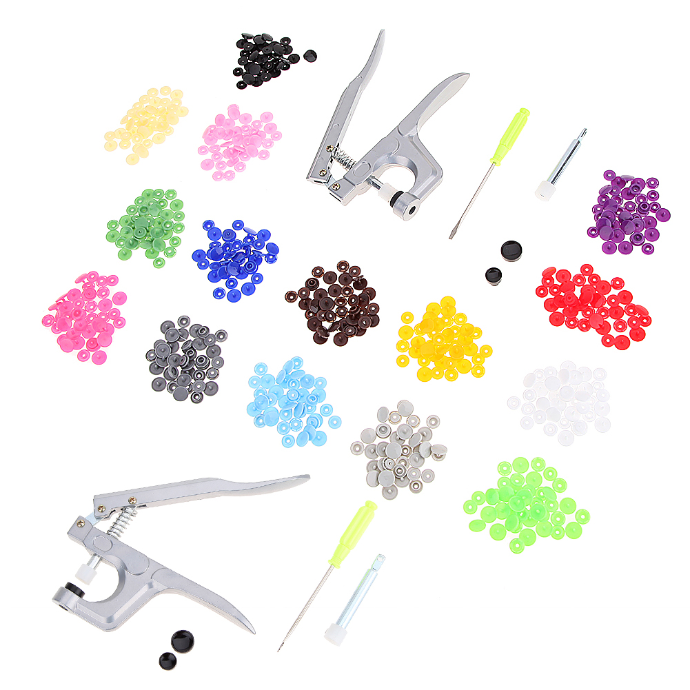 1Set Metal Press Pliers Tools Used for T3 T5 T8 Kam Button Fastener Snap Pliers+150 Set T5 Plastic Resin Press Stud Cloth Diaper