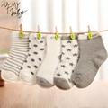 10 unids/lote = 5 pares de Calcetines de Bebé de Algodón Recién Nacido Calcetines del Piso Niña y Niño Calcetines Cortos