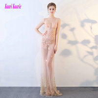 Sexy Transparent coral Mermaid Prom Dresses Long 2018 New Prom Dress V Neck Appliques Pearls Zipper night bar women Party Gown