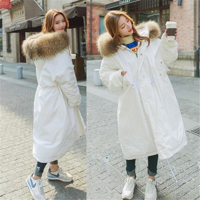 Étudiante Fourrure Parka Grand white Coton Femmes Green Veste Down Outwear Qualité 2018 Chaud Épaississent pink army D'hiver Haute Manteau Col Long Lâche De Blue T13cKulFJ