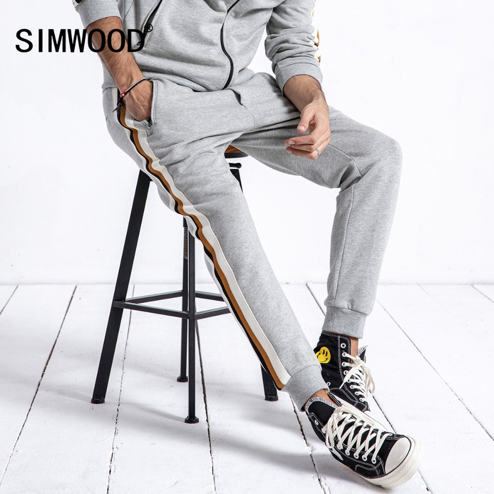 SIMWOOD Brand Sweatpants Men 2019 Spring Fashion Sport Jogger Pants Men Trousers Casual Striped Thick Sweatpants Male 180624-in Sweatpants from Men's Clothing