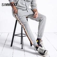 SIMWOOD markowe spodnie dresowe męskie 2019 jesienne modne sportowe spodnie do biegania męskie spodnie w stylu casual, w paski grube spodnie dresowe męskie 180624
