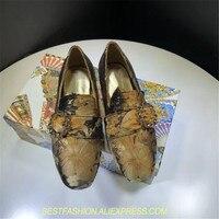 Модная женская повседневная обувь круглый блеск с прозрачной пряжкой ручной работы женские лоферы бархатные туфли цветок вышитая обувь же