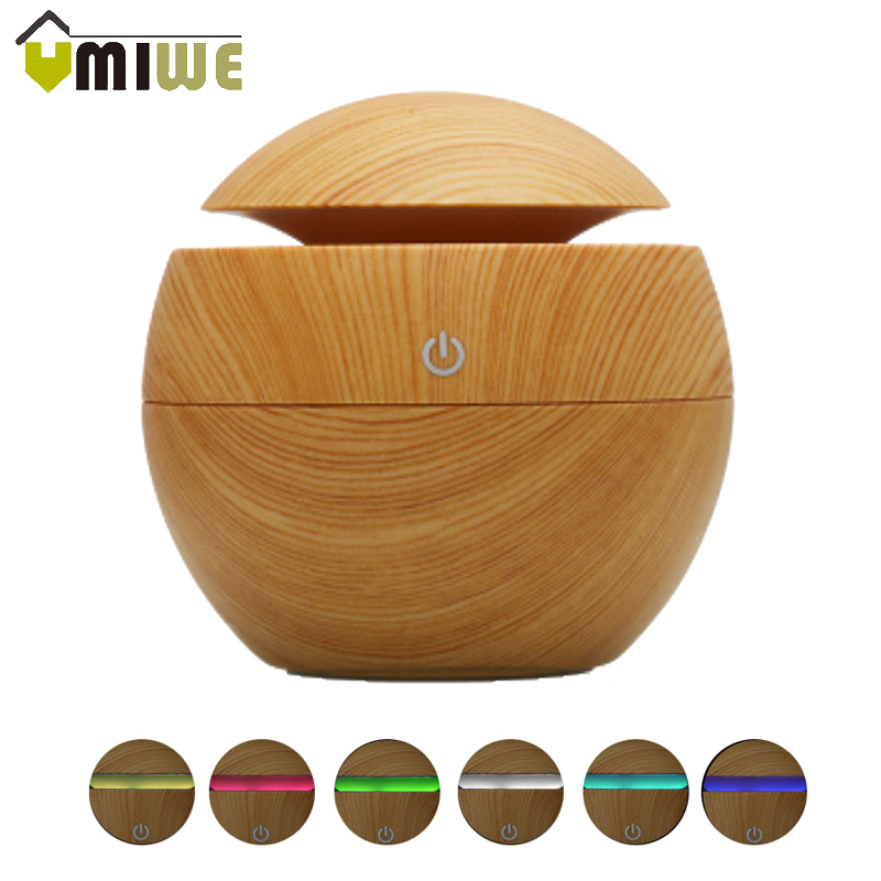 130ML Ultrasonic Air Humidifier Wood Grain Aromatherapy Aroma Essential Oil Diffuser USB Color Changing Cool Mist Humidifiers mini wooden air humidifiers aromatherapy ultrasonic humidifier oil aroma diffuser usb purifier color changing led touch switch