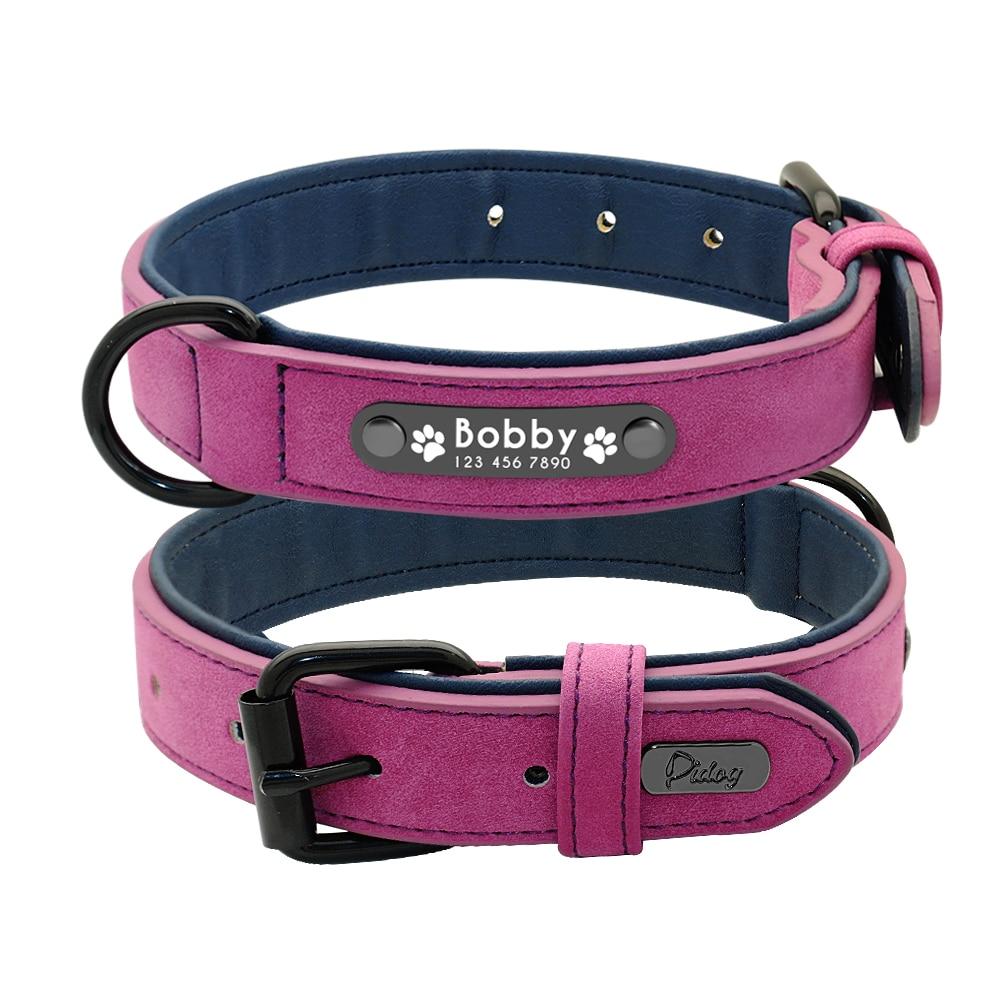 Dog Collars Personalized Custom Leather Dog Collar Name ID Tags For Small Medium Large Dogs Pitbull Bulldog Beagle Correa Perro 3