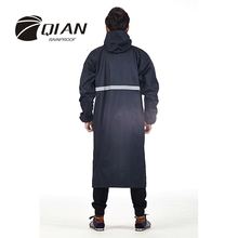 QIAN RAINPROOF Professional Adult Outdoor Long Raincoat With Hood Thicker Sfety Reflective Tapes Design Work Travel Rainwear
