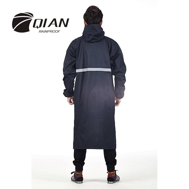 QIAN RAINPROOF Professional Adult Outdoor Długi płaszcz przeciwdeszczowy z kapturem Thicker Sfety Taśmy odblaskowe Design Work Travel Rainwear
