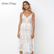 WildPinky Summer White Dress Women Hollow Out Sleeveless Sexy Bodycon Elegant Skinny Floral Pattern Lace Dresses Vestido