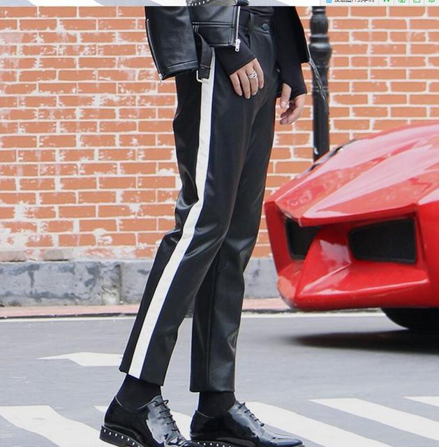 67174d64924 27-44 Fashion straight men PU leather pants black white youth feet pants  plus size Men s trousers singers stage costumes