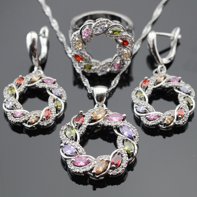Round Multicolor Stones Silver Color Jewelry Sets For Women Christmas Gift Necklace Pendant Drop Earrings Rings Free Gift Box