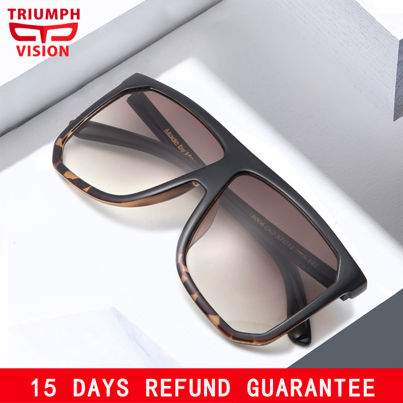 TRIUMPH VISION Flat Top Sunglasses Shades Women Men Oversized Square One Piece Design Sun Glasses Gradient Tortoiseshell New