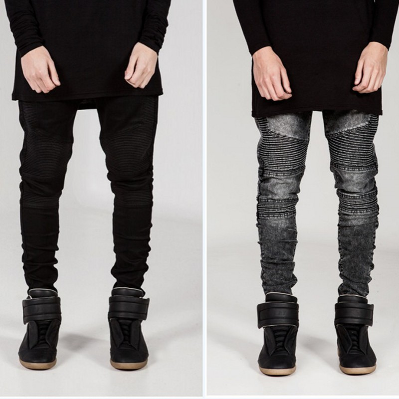 2017 Mens Runway Biker Jeans Skinny Distressed Slim Elastic Denim Hiphop Pants Washed Black Jeans for men bmy33088