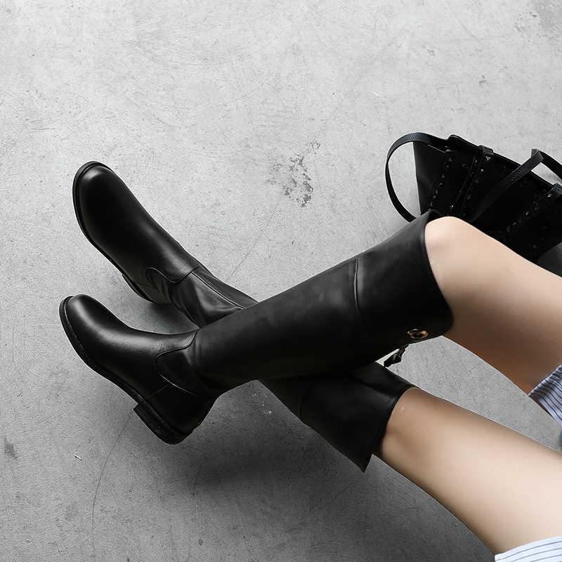 WETKISS kadın diz yüksek çizmeler inek deri motosiklet yuvarlak Toe Zip ayakkabı düşük topuklu kadın sürme kadın Atuumn kışlık botlar