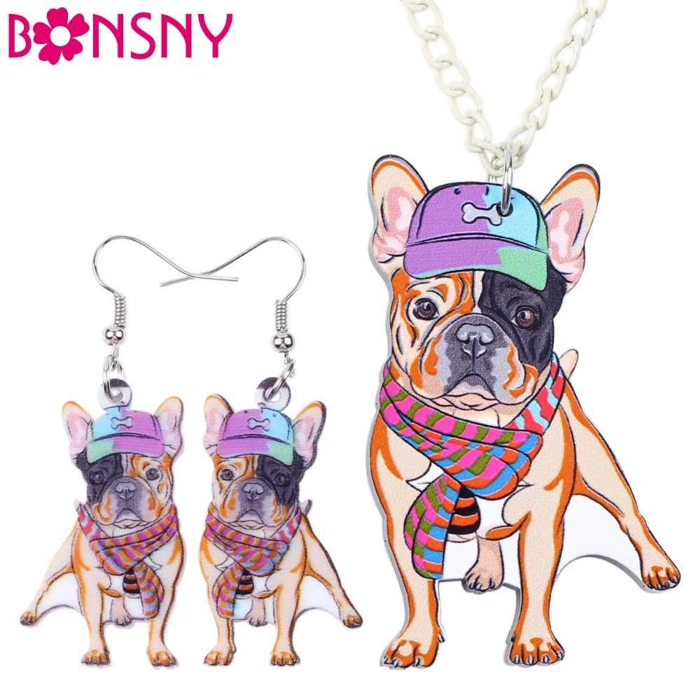 Bonsny thương hiệu trang sức thiết acrylic statement pháp bulldog pug dog bông tai vòng cổ choker cổ trang sức thời trang phụ nữ cô gái