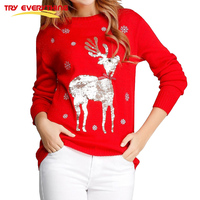 Try Everything Deer Christmas Jumpers Ladies O Neck Loose Women Sweaters And Pullovers 2017 Red And