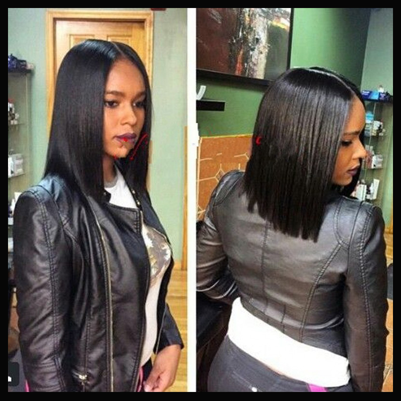 Natural Middle Part Indian Human Hair Bob Lace Wig Silky Straight Front For Black Women Top Quality In Wigs From