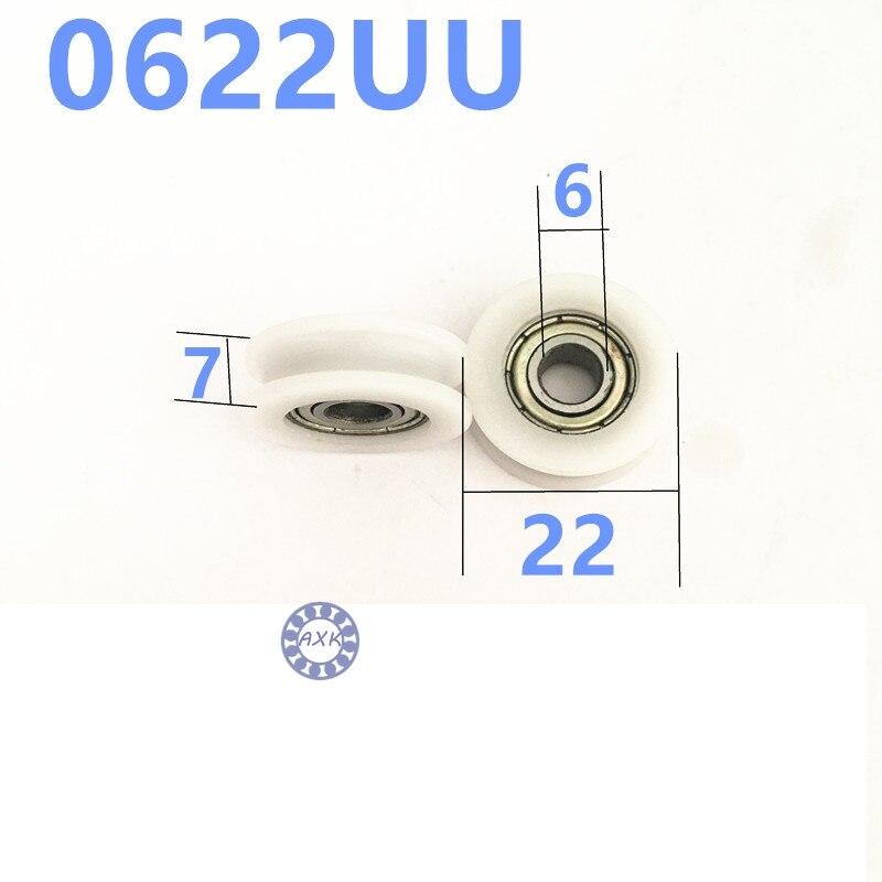 15pcs 6x22x7mm 0622UU 6mm bearing door pulley bearing plastic covered mute bearing U slot embedded bearing