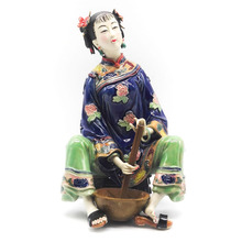 Marvel Sculptures Traditional Chinese Dolls Female Statues Collectibles Antique Glazed Figurine Gift Ceramic lady Figure Arts