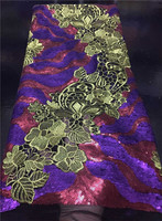 Hot sale French tulle lace fabric with cord lace sequins embroidered African mesh lace material for dress FN25 3,5yards/pc