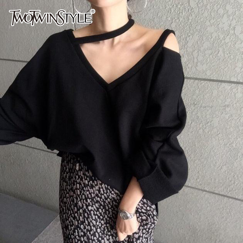 TWOTWINSTYLE Off Shoulder Womens Sweatshirt Loose V Neck Batwing Long Sleeve Striped Pullover Casual Style Clothing 2019 Autumn