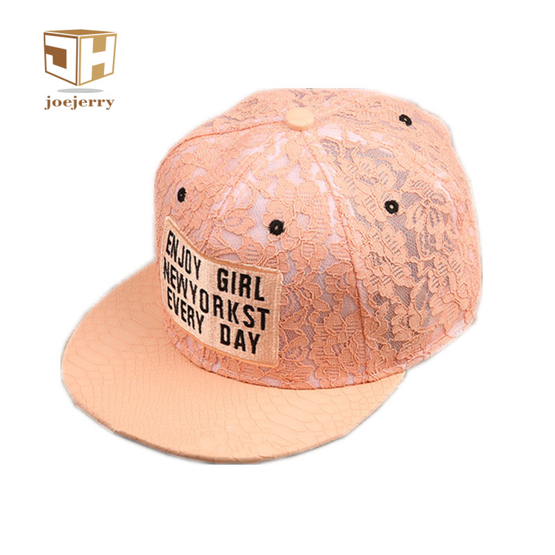 joejerry Harajuku Lace Floral Wome Baseball Cap Leather Snapback Caps Cute Letter Hat Girls Free Size cntang brand summer lace hat cotton baseball cap for women breathable mesh girls snapback hip hop fashion female caps adjustable