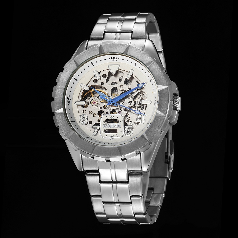 GOER brand Men s sports waterproof wrist watch mechanical Automatic Stainless Steel Skeleton Luminous male Watch