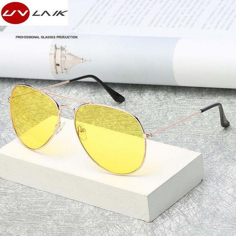 Uvlaik пилот авиации Ночное видение Солнцезащитные очки для женщин Для мужчин Для женщин очки Очки UV400 Защита от солнца Очки ночь водитель вождения очки