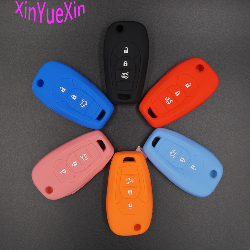 Xinyuexin Silicone Car Key Cover FOB Case For Chevrolet Chevy Cruze 2017 4 Buttons Flip Remote Key Case Jacket Car-styLing