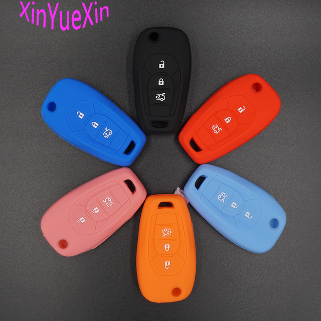 Xinyuexin Siliconen Autosleutel Cover Fob Case Voor Chevrolet Chevy Cruze 2017 4 Knoppen Flip Remote Key Case Jas Auto-Styling