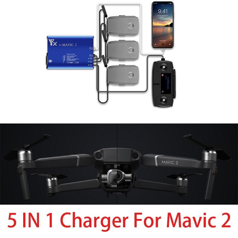 5 en 1 DJI Mavic 2 moyeu de chargeur de batterie moyeu de charge de batterie Intelligent pour DJI Mavic 2 Pro/Zoom drone charge de voiture