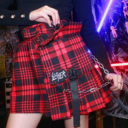 Сексуальная высокая талия Лоскутная контрастная плиссированная Skater винтажная карго Пряжка ремень цепь карман вышивка плед мини юбка Harajuku
