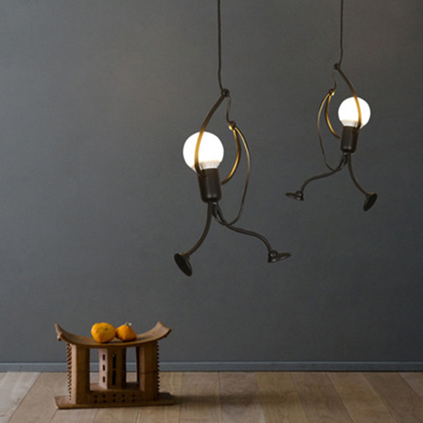 Modern Black Cartoon LED Pendant Lights Fixtures Industrial Pendant Lamp Children's Living Room Hanging Lamp Luminaire Home Deco|Pendant Lights| |  - title=
