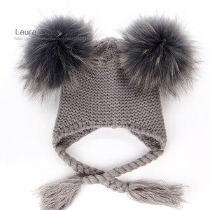 Image 2 - Детская шапка бини с подкладкой, теплая шерстяная шапка с помпонами из натурального меха, 16 см, для осени и зимы