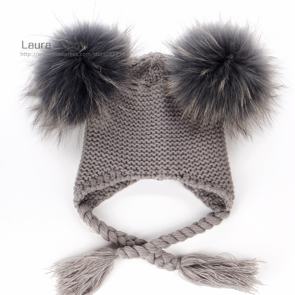 Image 2 - LAURASHOW New Autumn Winter Baby Beanie With Lining 16 CM Real Fur Pompoms Warm Sleep Wool Cap Kids Clothing Accessories Hatreal fur pompomfur pompomwool cap -