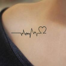 Водостойкая временная татуировка стикер любовь волна поддельные татуировки временные флеш-тату для рук, ног, тела Искусство для женщин девушек