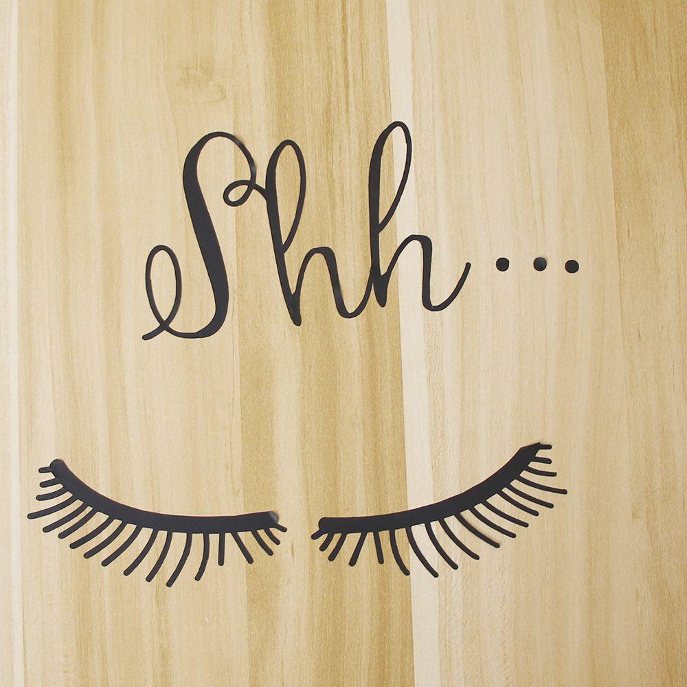 Beautiful Shh Eyelash Vinyl Wall Sticker Baby Girls Room Door Decal Decoration