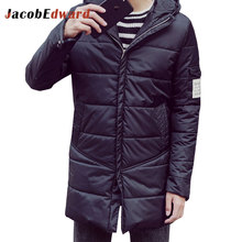 2016 New Arrival Parka Men Winter Long Thick Warm Jacket Long Sleeve Slim Fit Brand-Clothing 100% Polyester Casual Jacket Coats