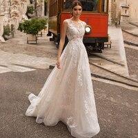 2020 Bohemian Wedding Dresses Lace Sweep Train Buttons Illusion Back Elegant Lace Applique A Line Bridal Gown vestido de noiva
