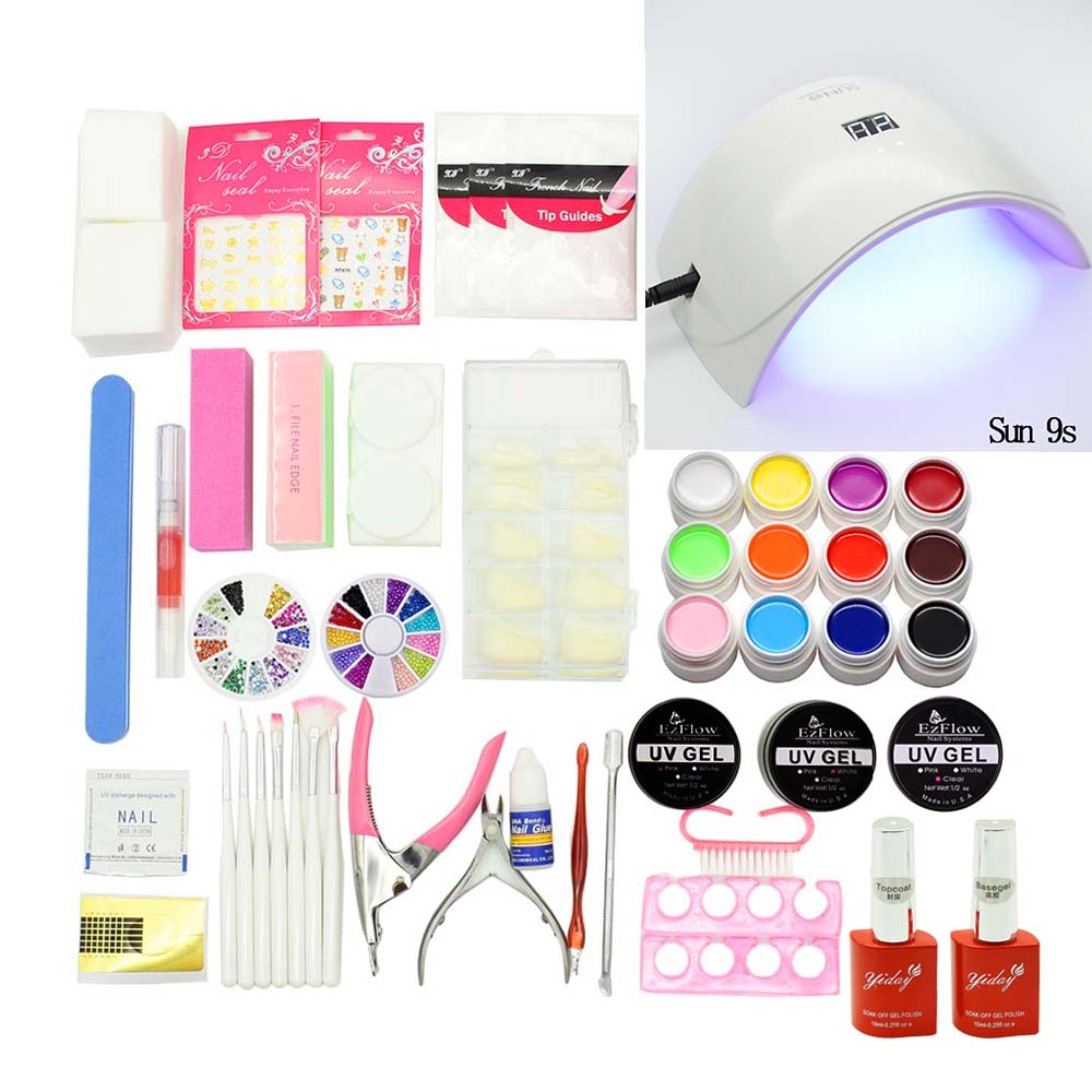 nail art tools Sets & Kits 24W nail UV LED Lamp 12 Color soak off uv Gel nail base gel top coat gel nail polish kit Manicure focallure new arrival uv gel kit soak off gel polish gel nail kit nail art tools sets kits manicure set with sunmini led lamp