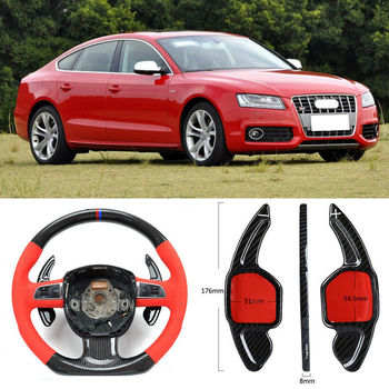 Carbon Fiber Gear DSG Steering Wheel Paddle Shifter Cover Fit For Audi S5 09-15/S6 06-18/S7 13-18/S8 08-16