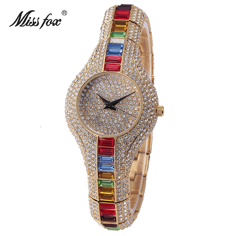Miss Fox Austria Crystal Women Quartz Watches Luxury Ladies Gold Dress Bracelet Women's Watch For Female Clock Montre Femme 2017 deepshell full crystal diamond women stainless steel bracelet quartz gold watch female ladies dress wrist watches montre femme