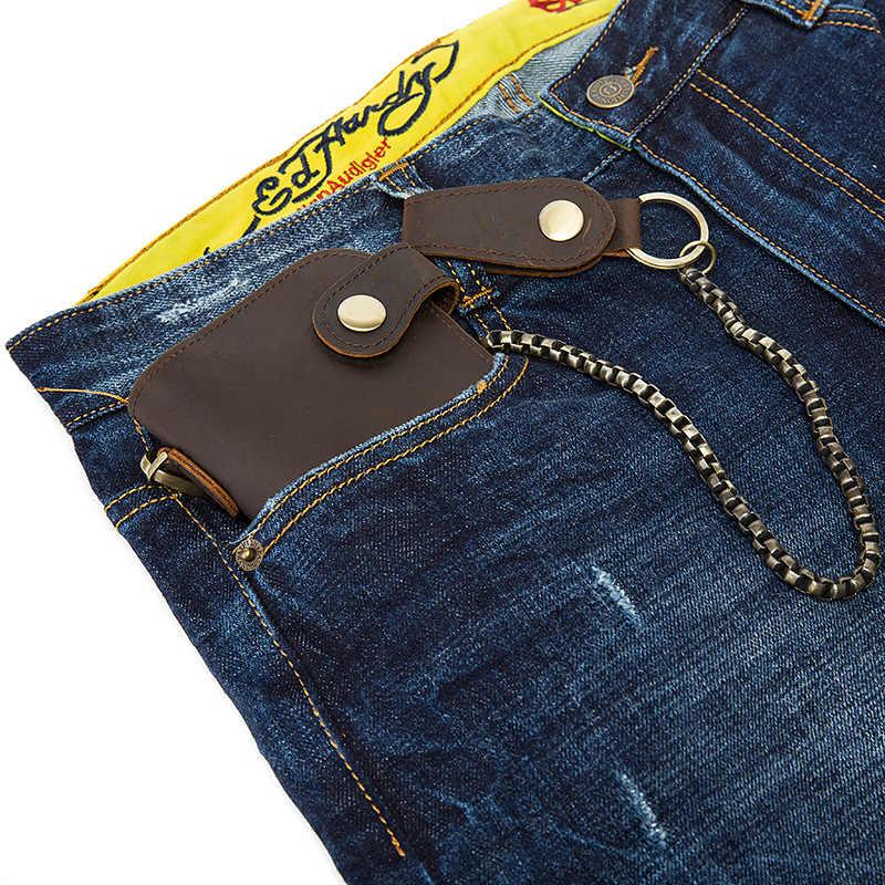 Крутая Мода Хип-хоп стиль цепи из натуральной кожи мужские кошельки высокого качества винтажные Crazy Horse кожаные противоугонные кошельки