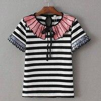 2018 New Fashion Women summer Sequin bow Crystal buckle stripe Ruffled collar short Petal Sleeve stripe T Shirt Plus Size 5XL