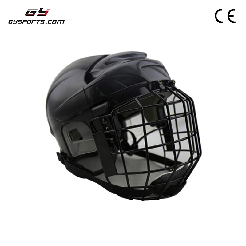 GY SPORTS PP Outshell Comfortable EPP Liner Ice Hockey Helmet Head Protector Hockey Equipment with face mask for sale free shipping high quality pp eva foam ice hockey helmet with black wire cage face mask